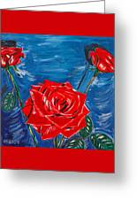Three Red Roses Four Leaves Greeting Card