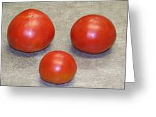 Three Red Tomatoes Greeting Card