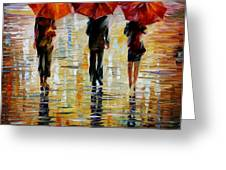 Three Red Umbrella Greeting Card