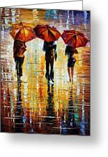 Three Red Umbrellas Greeting Card