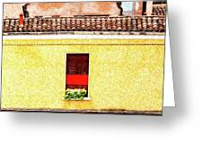 Three Red Windows With Flowers Of A Typically Italian House. Greeting Card