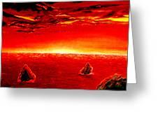Three Rocks In Sunset Greeting Card