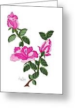 Three Roses In The Garden Greeting Card