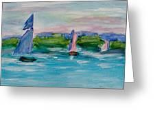 Three Sailboats Greeting Card