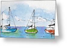Three Sailboats Near Tahiti Greeting Card by Pat Katz