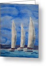 Three Sails Greeting Card