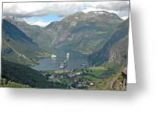 Three Ships At Geiranger Fjord Greeting Card