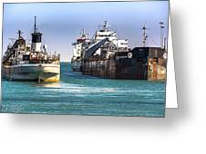 Three Ships In The Harbor Greeting Card