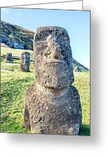 Three Standing Moai Statues Greeting Card
