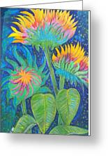 Three Sunflowers In The Mid Summer Night  Greeting Card