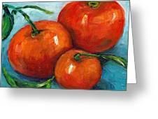 Three Tangerines Still Life Grace Venditti Montreal Art Greeting Card