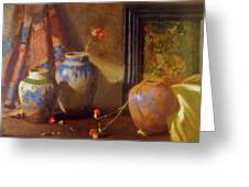 Three Vases With Impressionist Painting In Background Greeting Card