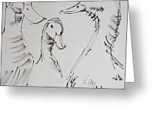 Three White Ducks Drawing Greeting Card