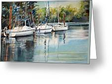 Three White Sails Docked Greeting Card
