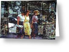 Three Women In Town Greeting Card