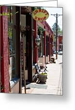 Thrift Shop And Sign In Manitou Springs Greeting Card