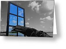 Through The Looking Glass Blue Greeting Card