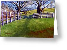 Throught The Pasture Gate Greeting Card