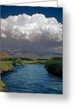 2a6738-thunderhead Over Owens River  Greeting Card