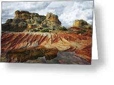 Thunderstorms Pass Over The Spectacular Formations Of White Pocket, Arizona. Greeting Card