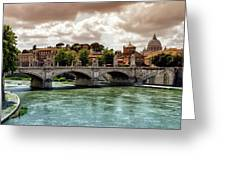 Tiber River, Ponte Sant'angelo And St. Peter's Cathedral, Roma, Italy Greeting Card