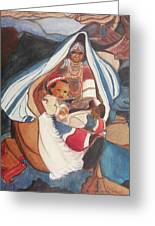 Tibetan Grandmother And Baby Greeting Card by Suzanne  Marie Leclair