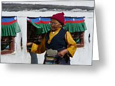 Tibetan Grandmother Turning The Prayer Wheel Greeting Card