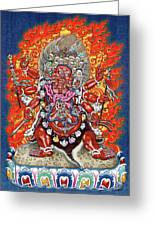 Tibetan Thangka  - Wrathful Deity Hayagriva Greeting Card