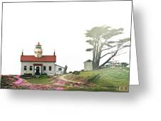 Tides Of Battery Point Lighthouse - Northern Ca Greeting Card