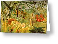 Tiger In A Tropical Storm Greeting Card