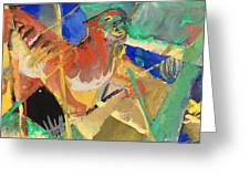 Tiger In The Jungle By Franz Marc Red And Yellow Tiger On The Prowl Greeting Card
