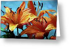 Tiger Lilies After The Rain - Painted Greeting Card