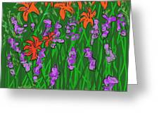 Tiger Lilies And Purple Hostas Greeting Card