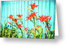 Tiger Lily And Rustic Blue Wood Greeting Card