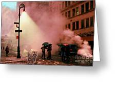 Tiger Suanters The Sloggy Evening Urban Landscape Greeting Card