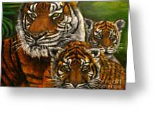 Tigers Family Oil Painting Greeting Card