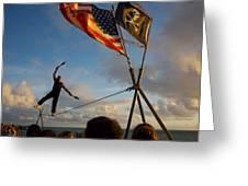 Tight Rope Walker In Key West Greeting Card