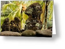 Tiki Carvings In Hatiheu Village, Nuku Greeting Card