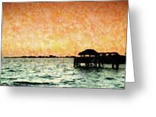 Tiki Sunset Greeting Card