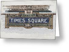 Tile Mosaic Sign, Times Square Subway New York, Handmade Sketch Greeting Card