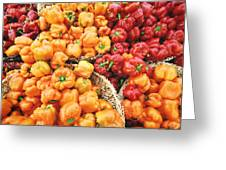 Tile Peppers Greeting Card