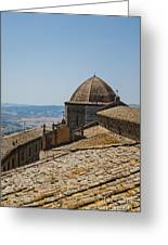 Tile Roof Tops Of Volterra Italy Greeting Card
