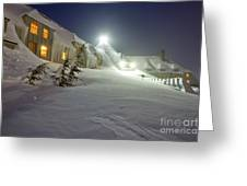 Timberline Lodge Mt Hood Snow Drifts At Night Greeting Card