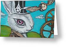 Time Flies For The White Rabbit Greeting Card by Jaz Higgins