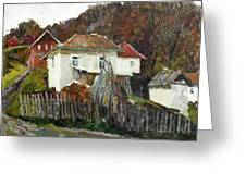 Time For Use The Stove. November In The Serbia. Greeting Card