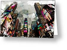 Time Square Mixed Media Greeting Card