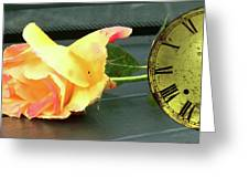 Time To Give A Rose - Yellow And Pink Rose - Clock Face Greeting Card