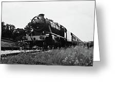 Time Travel By Steam B/w Greeting Card