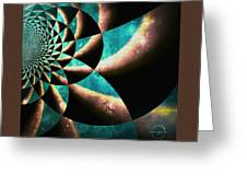 Time Travel Galaxy Portal To The Stars - Teal Green Greeting Card