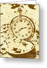 Time Worn Vintage Pocket Watch Greeting Card